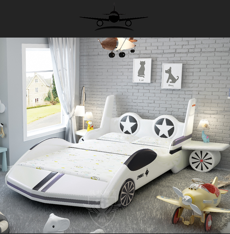 Thiết kế giường ngủ cho bé trai kiểu mô hình máy bay độc đáo