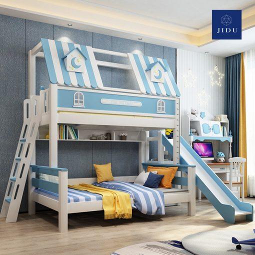 Giường tầng trẻ em có thang màu xanh dương 2